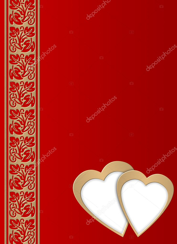 Celebratory background to the Valentine's day (with elements of two hearts, fantastic columns )  Stock Photo #6196493