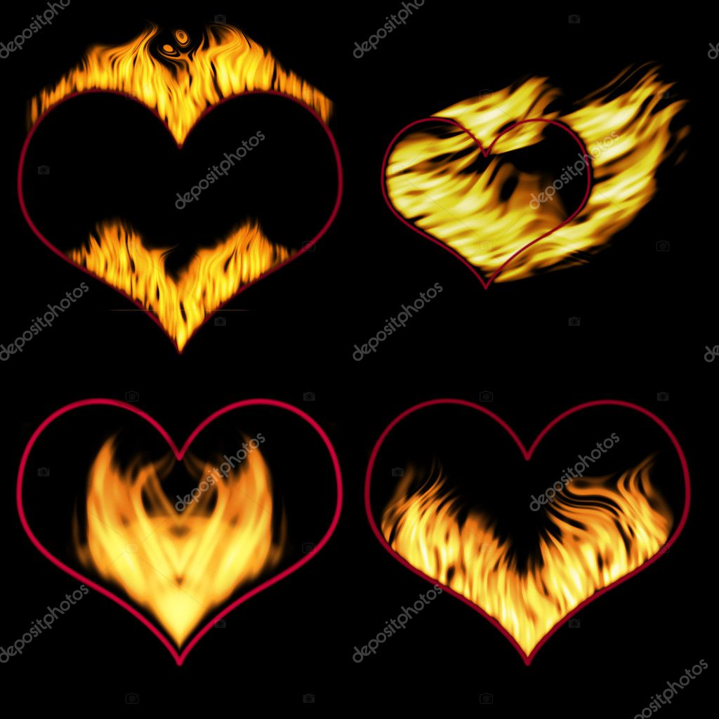 Burning hearts (hearts for the further editing) — Stock Photo #6197273
