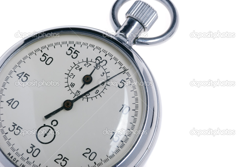 Stopwatch. Analog watch that can be immediately stopped and started by pressing a button. Made in USSR — Stock Photo #6197636