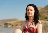 A mulher no litoral — Foto Stock