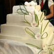 -Wedding cake or birthday cake decorated with marzipan roses — Stock fotografie #5555023