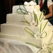 -Wedding cake or birthday cake decorated with marzipan roses — Stok fotoğraf