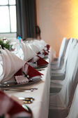 Set tables in the restaurant — Stock Photo
