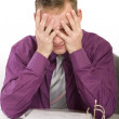 Overwhelmed and desperate businessman — Stockfoto
