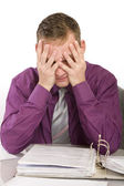 Overwhelmed and desperate businessman — Stock Photo