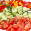 Mixed fresh salad with peppers, lettuce, tomatoes and carrot — Foto de Stock