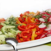 Delicious salad of cucumbers, peppers and radishes — Stock Photo