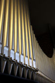 An organ in the church - close-up organ pipes — Stock Photo