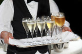 Waiters served champagne and wine — Stockfoto