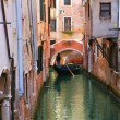 Gondola on small canal in Venice, Italy. — Stock Photo