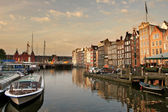 Amsterdam cityscape at evening. — Stock Photo