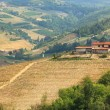 Aerial view on lone rural house on the hills in Italy. — Stock Photo