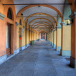 Old passage in Alba, Italy. - Stock Photo