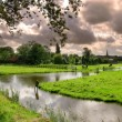 Small river and green lawns and fields in Zaanse Schans. — Stock Photo #5962562