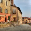 Stock Photo: Old multicolored houses in Saluzzo, Italy.