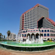 Panoramic view on Opera Building and fountain. - Stock Photo