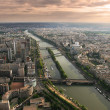 Aerial view on Paris from Eiffel Tower. — Stock Photo