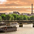 Cruise ship on Seine river in Paris, France. — Stock Photo #6420608