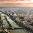 Stock Photo: Aerial panoramic view of Paris and Seine river.