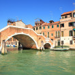 Stock Photo: Canal and small bridge in Venice, Italy.