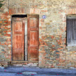 Vintage door and window in brick house, Italy. — Stock Photo