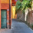 Narrow street among house and wall in Portofino. — Stock Photo