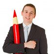 Businessman with red pencil - 图库照片