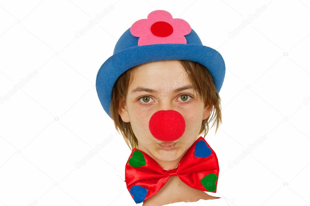 Clown with red nose looking out of white paper — Stock Photo #5381110