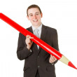 Stock Photo: Businessmwith red pencil