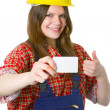 Young friendly craftswoman with businesscard — Stock Photo