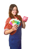 Craftswoman with euro banknotes — Stock Photo