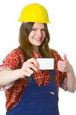 Jovem estudante amigável com businesscard — Fotografia Stock