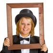 Woman with wooden frame - Stock Photo