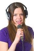 Bella donna con microfono — Foto Stock