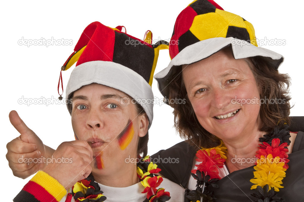 Female Soccer fans on white background — Stock Photo #5658746