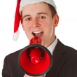 Businessman with chrismas hat — Stock Photo