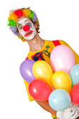 Colorful clown with balloons — Stock Photo