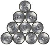 Soda Pop Can Pyramid — Stock Photo