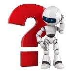 rolig robot vistelse med röda fråga ikon — Stockfoto