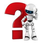 Funny robot stay with red question icon — Stock Photo