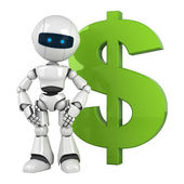Funny robot stay with green dollar sign — Stock Photo