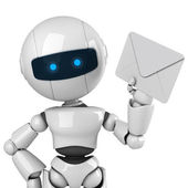 Funny robot stay and show mail — Stock Photo