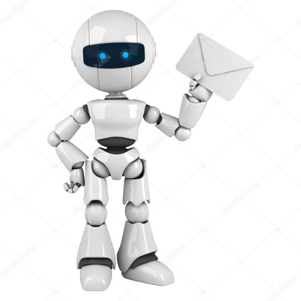 Funny white robot stay and show mail — Stock Photo #6308125