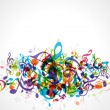 Stock Vector: Colorful music notes vector background