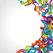 Colorful music notes vector background — ストックベクタ