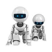 搞笑对机器人做准备 — 图库照片