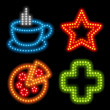 Neon icon set - Stock Vector
