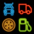 Stock Vector: Neon icon set
