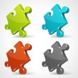 Puzzle 3d pie vector icons set — Stock Vector
