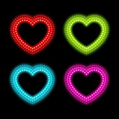 Neon heart signs — Stock Vector